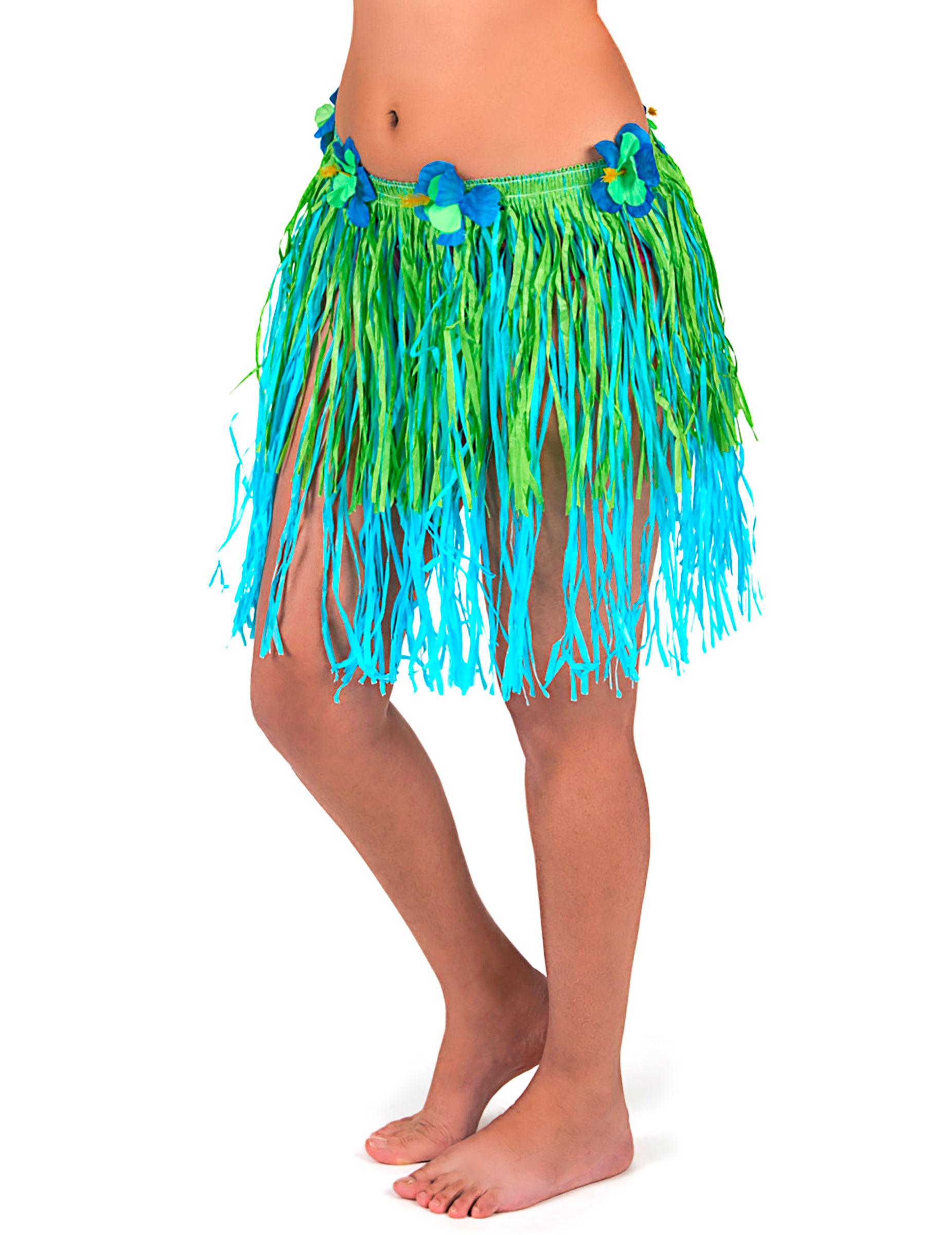 Jupe Hawaienne Courte Verte Et Bleue Avec Fleurs Adulte Deguisements Cadeaux Pas Chers Boutique Arlequin Suisse